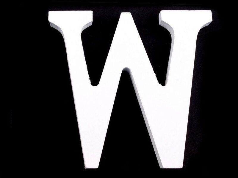 """3D Decorative wood Letter """"W"""" 8cm"""