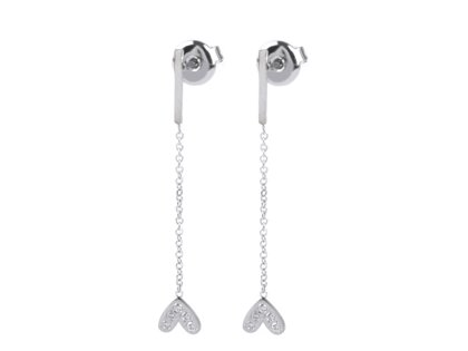 Auskari Stainless Steel Stud Earrings with Heart Charm