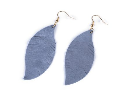 Auskari Stainless Steel Earrings with Leather Feather