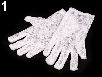 Cimdi Girls Formal Lace Gloves, white