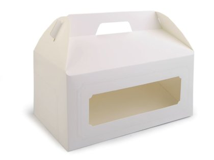 Dāvanu kaste ar logu un rokturi White Paper Party Gift Box With Window
