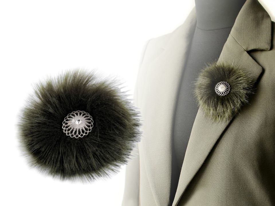 Broša Faux Fur Brooch with snap fastener