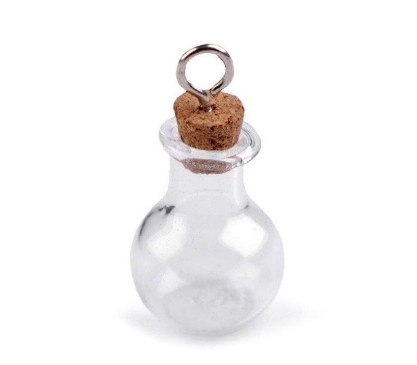 Stikla burciņa ar korķa vāku, piekariņu 17x23 mm
