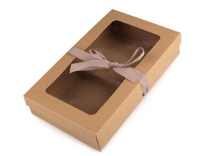 Dāvanu papīra kaste ar logu un lentīti komplekts