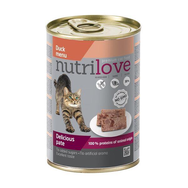 Kaķu mitrā barība konservi Nutrilove Pīle 400g komplekts