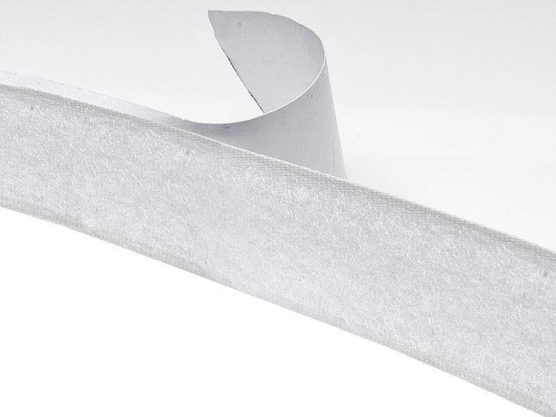Velcro lenta ar līmi - mīkstā daļa balta 25 mm