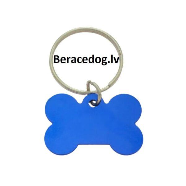 Suņu ID kulons / kaklasiksnas kulons KAULS ZILS komplekts