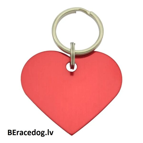 Suņu ID kulons / kaklasiksnas kulons SIRDS SARKANS komplekts