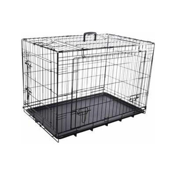 Dog box with sliding doors black L 59x93x62,5cm