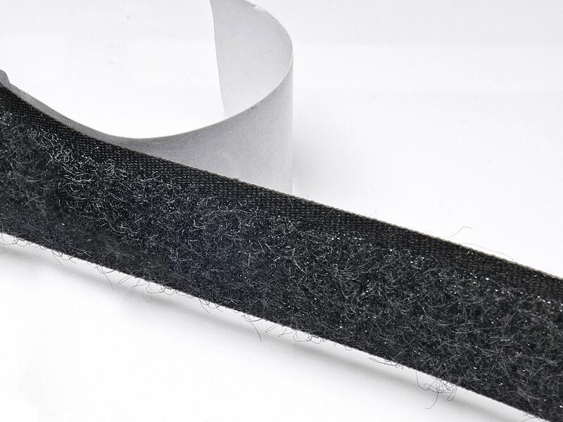 Velcro lenta ar līmi - mīkstā daļa melns 20 mm