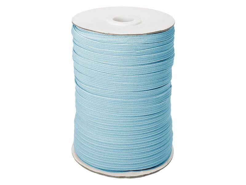 Elastīga poliestera lenta 7 mm 100 m gaiši zila