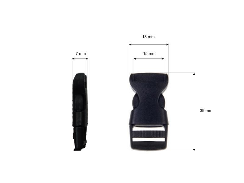 Plastmasas sprādze 15 mm melna 100 gab.