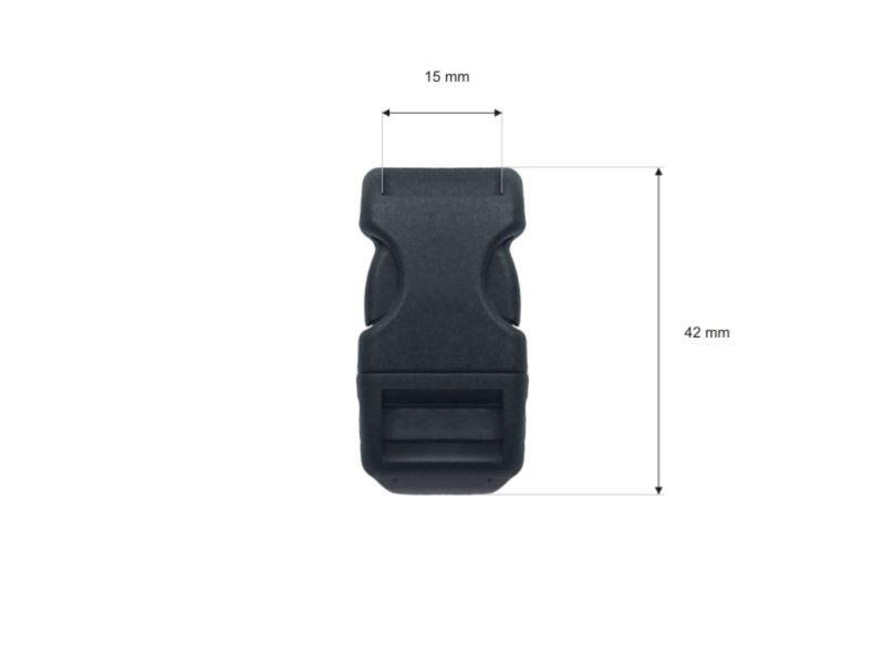 Plastmasas sprādze 15 mm melna 80 gab.