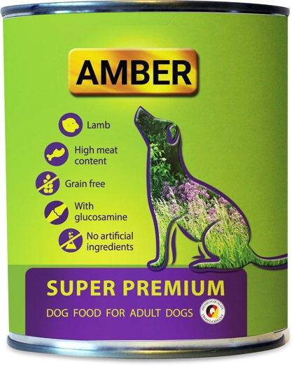 AMBER Pilnvērtīgi konservi suņiem ar jēra gaļu un glikozamīnu 800 g